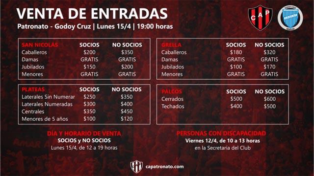 Venta de entradas para Patronato - Godoy Cruz.