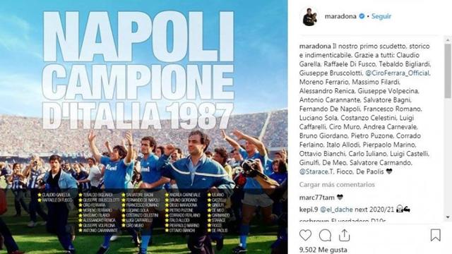 El Diez recordó a todos sus compañeros del plantel campeón del Napoli.