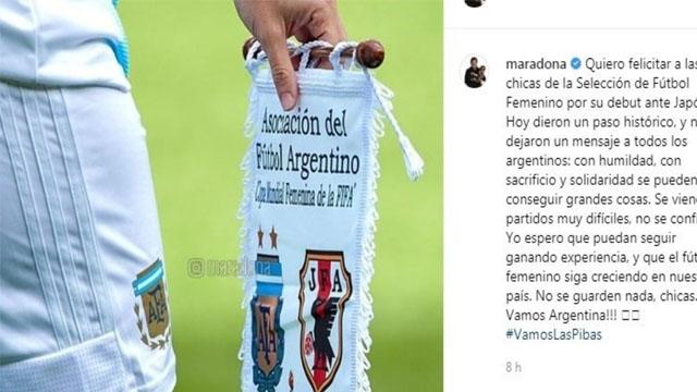 """""""Espero que el fútbol femenino siga creciendo"""", publicó Diego en Instagram."""